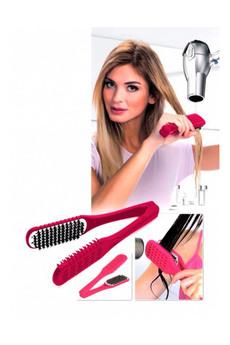 Расческа для выпрямления волос феном «ШЕЛКОВЫЕ ПРЯДИ» малиновая Bradex