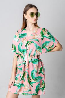 Пляжная туника розовый с зеленым MYLIKE